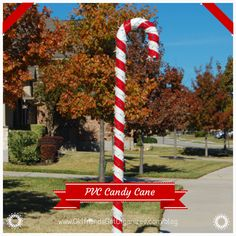DIY PVC Candy Cane. Great outdoor Christmas decoration.