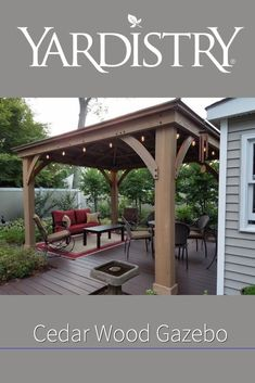 Here we have something a little different with Yardistry's cedar wood gazebo.  If you are looking for a more natural look, this large and protective structure looks great with a few lights strung up on it on one of those mild summer nights.  Read our full review!  #yardistry #gazebo #thegnomeknows #backyardfun Gazebo Roof, Backyard Gazebo, Modern Backyard, Patio, Backyard Ideas, Garden Ideas, Gazebo Lighting, Outdoor Lighting, 12x12 Gazebo
