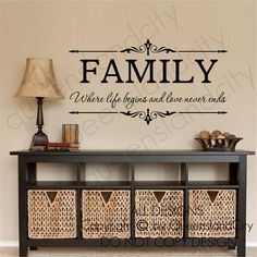 Family Where Life Begins & Love Never Ends Wall Quote Floral Sticker Vinyl Decal Family Inspirational Art Decal Vinyl Sticker via Etsy