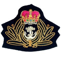 Army Officer's cap badges are gold and silver bullion wire embroidered. Hud Badges make Navy Cap Badges, Crown and Star badges in sew on variety and with Velcro backing. http://hudbadges.com/detail.php?live=1_0_0_42