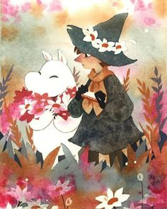 Picking flowers. Moomin and Snufkin. I love Tove Jansson's adorable creations, especially these two. ;u;