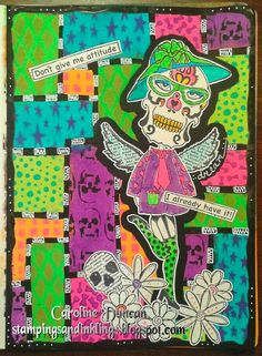 art journal page by Caroline Duncan ~ stampingsandinklings.blogspot.com ~ Dylusions, Dyan Reaveley