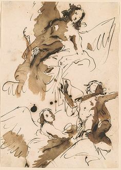Giovanni Battista Tiepolo Four Figures A Winged Female with a Cornucopia Two Others and a Youthful Male Figure Apollo Drawings Online The Morgan Library Museum Life Drawing, Figure Drawing, Painting & Drawing, Baroque Painting, Baroque Art, Ink Illustrations, Illustration Art, Storyboard, Art Sketches
