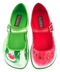 Love this Green & Pink Watermelon Mary Jane - Women on #zulily! #zulilyfinds