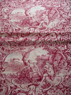 Antique french toile de jouy French 19thc textile raspberry red toile romantic…