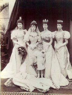 Princess Maude of Great Britain with her sisters at her wedding.