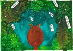 Gemaakt tijdens de workshop kerstkaart illustreren bij Sterrig