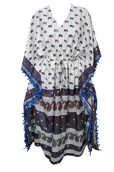 c96485312fd2 Mogul Interior Womens Caftan Maxi Dress White Printed Kimono Sleeves Kaftan  One Size: Amazon.