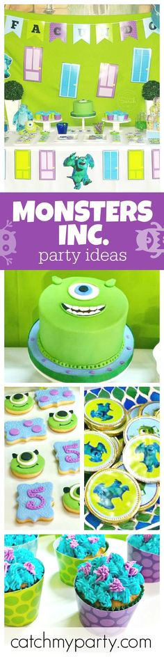 A fun Monsters Inc. Birthday party. The cookies and cupcakes are so cute and just look at how cool the birthday cake is!