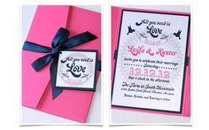 Navy And Fuschia Wedding Invitation Ideas Sara Matt S Invitations I Want This Pinterest Weddings