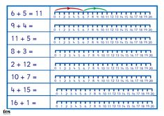 A clearly laid out activity, with number lines to 20 next to each calculation so pupils can draw the 'jumps' to help them get the answer. The first sheet has an example and some basic addition calculations while an additional blank template is added so you can create your own