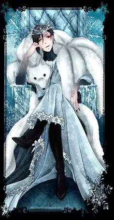 Kuroshitsuji, Black Butler, Sebastian Michaelis, Ice King, book of murder, manga coloring, snow, winter, colorization