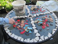 How to Make a Mosaic Table Top from Ceramic Tiles http://viking305.hubpages.com/hub/How-to-Make-a-Mosaic-Table-Top-from-Broken-Tiles-Ceramic-Create-Making-Creating