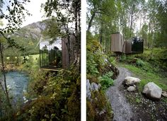 "Minimalist Juvet Landscape Hotel in Norway.  Seven detached guest rooms is a ""small independent house with one, or sometimes two glass walls.""  The topography allows a layout where no room looks at another."