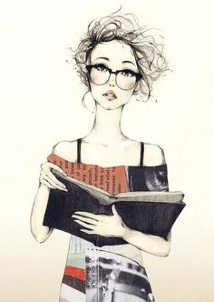 lady with glasses and book sketch