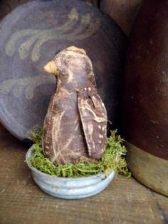Primitive Chicken in Antique Canning Jar Lid by PrimitiveBlackHat, $12.50