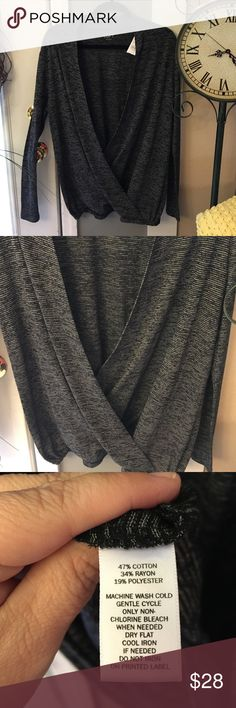 NWT, Loft Black & Gray Striped Top Brand new with tags. Never worn. Pic if materials in photos. Measures about 30 inches in length. Very soft and light weight. Long sleeve. Cute open detail in front needs tank or top under. Women's.  Cute with jeans and a wedge shoe LOFT Tops Blouses