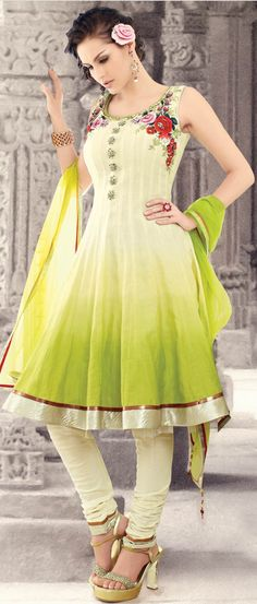 #Cream and #Green shaded Cotton Readymade #Churidar Kameez @ $114.22