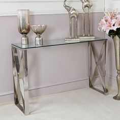 Glass Display Shelves, Coffee Table Pictures, Stainless Steel Furniture, Table Decor Living Room, Room Decor, Tempered Glass Table Top, Modern Console Tables, Hallway Designs, Table Accessories