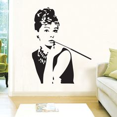 Audrey Hepburn wall stickers decals women beauty vinyl wallpaper poster adult home house living room bedroom saloon store decor