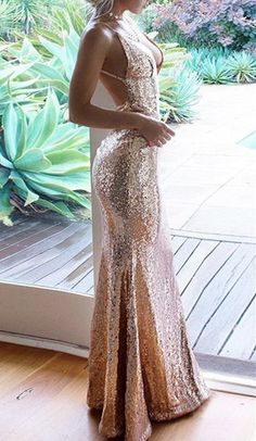 Mermaid Spaghetti Straps Floor-Length Champagne Sequined Prom Dresses