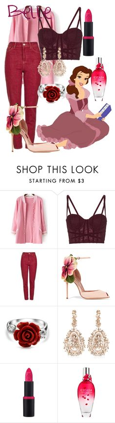 """""""Belle"""" by blueangel16-001 ❤ liked on Polyvore featuring Disney, Topshop, Brian Atwood, Bling Jewelry, Suzanne Kalan, Essence and ESCADA"""