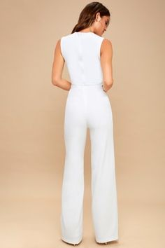 5d9f4ee9b7 Enticing Endeavors White Jumpsuit Dressy Rompers And Jumpsuits