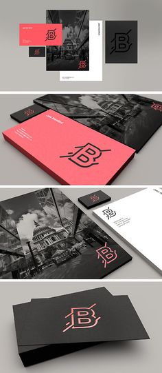 #B #graphic #black #pink #business #card