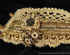 Freeform crochet cuff bracelet. Old gold crochet bracelet. Golden cuff. Beaded bracelet.