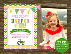 Tractor Birthday Invitation - Pink - Printable - FREE pennant banner and thank you card with purchase