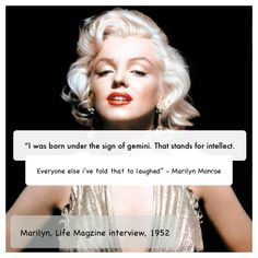 Fun fact: Marilyn Monroe and I have the same birthday✨❤️ Gemini Sign, Gemini Quotes, Zodiac Signs Gemini, Gemini Compatibility, Gemini Traits, Gemini Celebrities, All About Gemini, Marilyn Monroe Quotes, Gemini Woman