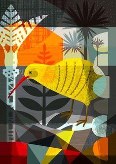 New Zealand artist, Ellen Giggenbach Neal Art, Evans Art, Kiwi Bird, Printed Balloons, Kiwiana, Bird Design, Fauna, Blue Abstract, Bird Art