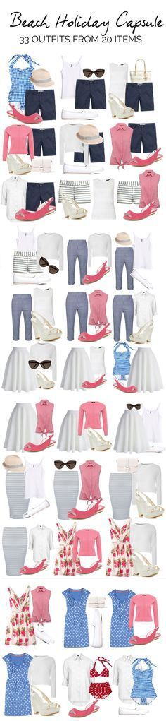 Travel Wardrobe, Beach Outfits, beach holiday capsule wardrobe: what to pack for a beach vacation // Fashion Style Ideas Tips. Beach Holiday Packing List, Summer Holiday Outfits, Holiday List, Holiday Beach, Capsule Wardrobe, Travel Wardrobe, Vacation Wardrobe, Wardrobe Ideas, Summer Wardrobe