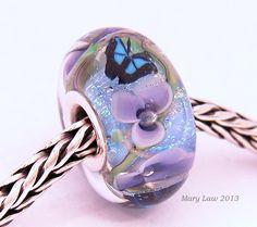 Periwinkle Butterfly Garden Floral Glaslight Artisan Handmade Lampwork Glass Murano Dichroic Sparkle Bead SRA