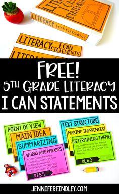 Free i can statements - grade literacy ela 5th Grade Ela, Teaching 5th Grade, 5th Grade Classroom, 5th Grade Reading, Fifth Grade, Teaching Writing, Science Classroom, 5th Grade Writing, 5th Grade Teachers