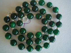 22 Deep Green Jade 10mm Round Bead NecklaceSterling by IvanaMakes, $28.99