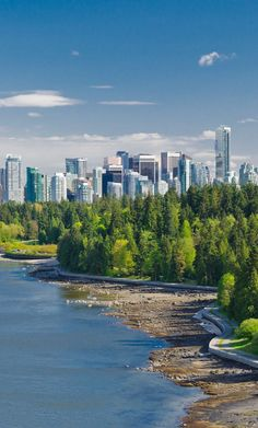 Panoramic view of the park and downtown in Vancouver, Canada