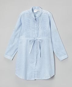Look at this #zulilyfind! Yo Baby Chambray Pin Dot Shirt Dress - Toddler & Girls by Yo Baby #zulilyfinds