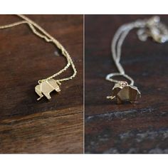 Lucy Loves Neko Elephant Necklace ($23) ❤ liked on Polyvore featuring jewelry, necklaces, elephant necklace, origami necklace, metal necklace, origami jewelry and metal jewelry