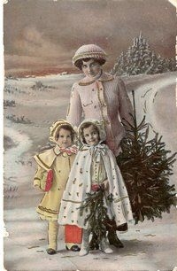 Mother and her two children at Christmastime.