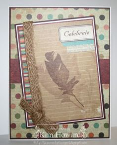 Stamps: Feathers from Clear & Simple Stamps Cardstock: Chocolate Chip, Very Vanilla from Stampin' Up!, Simple Stories Year.o.graphy collection Inks: Chocolate Chip from Stampin' Up! Embellishments: Dimensionals from Stampin' Up!, May Arts Burlap Ribbon