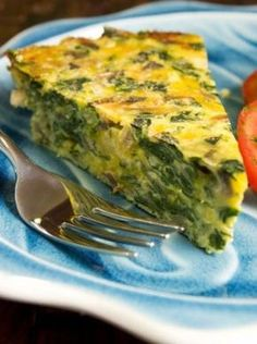 Crustless spinach, onion and feta quiche Spinach Quiche, Vegetable Quiche, Spinach And Feta, Breakfast Quiche, Best Breakfast, Quiches, Vegetarian Recipes, Cooking Recipes, Healthy Recipes