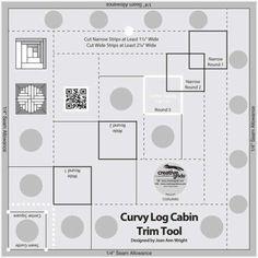 Creative Grids Curvy Log Cabin Trim Tool 8in Finished Blocks  CGRJAW5