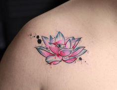 Watercolor Lotus Flower by Georgia Grey
