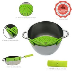 Amazon.com: Insanealia Clip-On Pot Strainer & Colander - Silicone Strainer for Spaghetti, Pasta & Ground Beef - Kitchen Strainer for Pots, Pans, Bowls - Drain Water, Oil, Grease Strainer + FREE Handle Holder: Kitchen & Dining