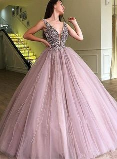 Ball Gown Dusty Pink V Neck Beaded Long Prom Dress luxurious beaded dusty rose long ball gown, pegeant long prom dresses formal evening dresses Related posts:Royal Blue Satin Strapless Langarm. Stunning Prom Dresses, Quince Dresses, Ball Gowns Prom, Cheap Prom Dresses, Prom Party Dresses, Formal Evening Dresses, Quinceanera Dresses, Ball Dresses, Dress Formal