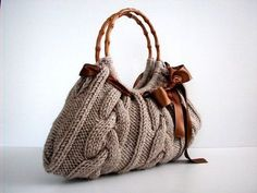 Knit Handbag NzLbags tote Handmade - Handbag - Shoulder Bag, Everyday Bag, Beige brown bow, fall autumn fashion, christmas gift idea. $70.00, via Etsy.