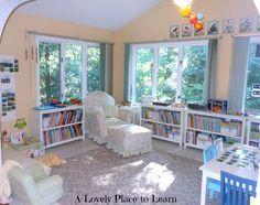 the multiple low bookshelves