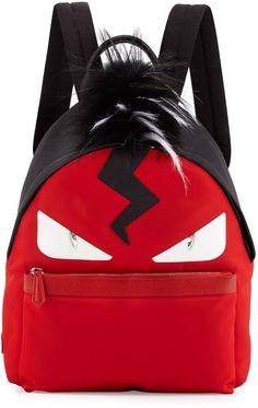 f5faf1cfc707 Fendi Monster Nylon Backpack with Fur Crest