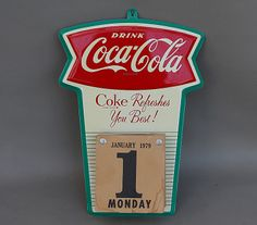 Old Original COCA COLA FISHTAIL CALENDAR HOLDER with Pad A+++